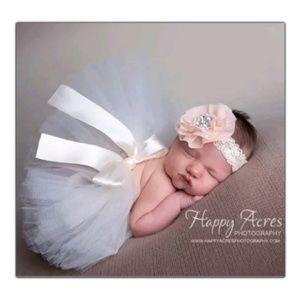 Other - Baby Girl white Tutu peach Headband Photo Prop Set